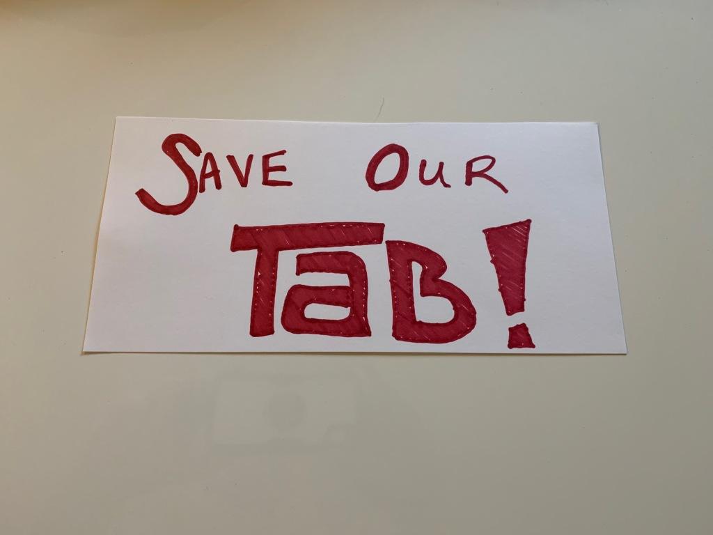 Save Tab Cola Save Tab Soda Sign